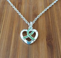 Lyme Disease Awareness Crystal Heart Necklace by FightingTogether