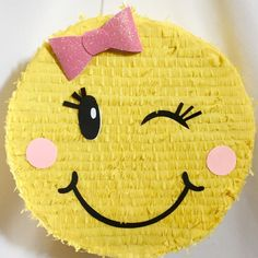 Ready to Ship Out Pink Bow Emoticon Pinata by Theperfectpinata