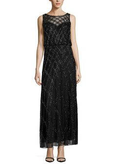 J KARA Black Beaded Illusion Yoke Blouson Gown
