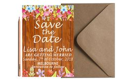 BOHO FLORAL SAVE the Date Card Peony Floral by LoveArtsStationery