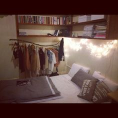 """(""""Heyo, I'm from Brisbane Australia and my name is Georgina. Welcome to my crib…""""—Submission from thefinestthings.) exposed clothes rail, made of a branch no less! <3"""
