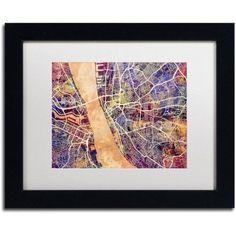 Trademark Fine Art Liverpool England Street Map 2 inch Canvas Art by Michael Tompsett, White Matte, Black Frame, Size: 16 x 20, Blue
