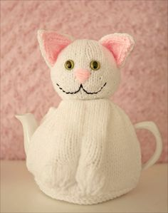 Snowy the Cat Hand knitted Tea Cosy White Cat Cozy Tea Cosy Knitting Pattern, Baby Knitting, Knitting Patterns, Teapot Cover, Knitted Tea Cosies, Mug Cozy, Felt Cat, Cat Doll, Cat Design