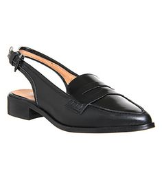 Office Luther Slingback Point Loafer Black Leather - Flats