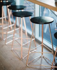 Restaurant | Furniture | HuntFurniture black and rose gold wood-wire bar stool | 2 height styles | 3 wire colors | Comes in wood and fabric covered tops