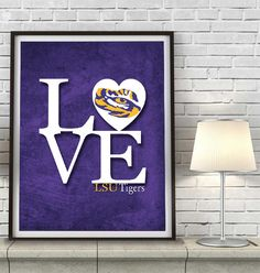"LSU Louisiana State University Tigers inspired ""Love"" ART PRINT, Sports Wall Decor, man cave gift for him #lsu #tigers"