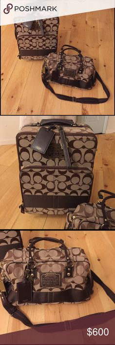 """Coach luggage set 22"""" coach carry on rolling suitcase with matching duffle. Took on one trip and it's been stored in the closet. Excellent condition. Coach Bags Travel Bags"""