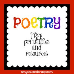 Free Poetry Printables and Resources