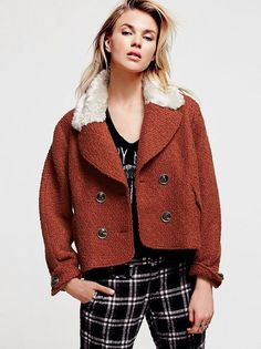 Free People Topped in Fur Peacoat Large NWOT #FreePeople #Peacoat