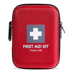 First Aid Kit - 140 piece - for Car Home Outdoors Sports Camping Hiking or Office | Red case w/ reflective cross fully packed with emergency supplies