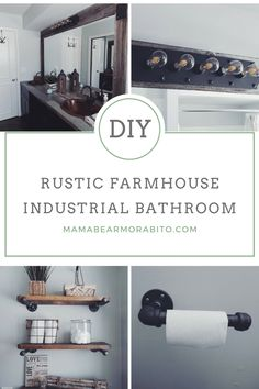 Rustic farmhouse industrial bathroom featuring pallet shelves with pipe support, barn wood framed mirror, oak plank laminate counter tops and farmhouse decor.