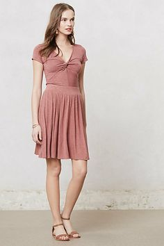Knotted Taya Dress #anthropologie Love the color and shape, but I'm wondering if the fabric might be a bit clingy.