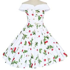 Maggie Tang 50s 60s Vintage Cherry Print Swing Rockabilly Dress White S  Vintage Inspired Dresses e85458afb918
