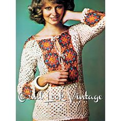 Vintage 1970s Crochet Pattern Granny Squares Tunic Bohemian Beach Cover Up Digital Download PDF