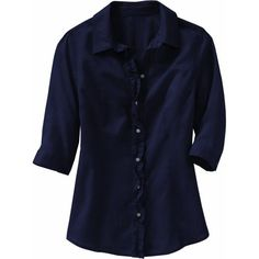 Old Navy Womens Linen-Blend Ruffle Shirts ($7.97) ❤ liked on Polyvore