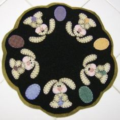 Wool Bunny Candlemat by quiltgirlscreations for $25.00