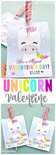This Magical Unicorn Valentine comes with a free print and instructions on how to create a super cute Valentine inexpensively! This Magical Unicorn Valentine comes with a free print and instructions on how to create a super cute Valentine inexpensively! Kinder Valentines, Unicorn Valentine, Valentines Day Activities, My Funny Valentine, Valentines Day Party, Valentine Day Crafts, Unicorn Party, Happy Valentines Day, Valentine Ideas