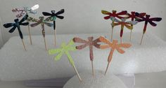 Dragonfly Cupcake Toppers in Black and Silver Foil by HandyGrams, $6.00
