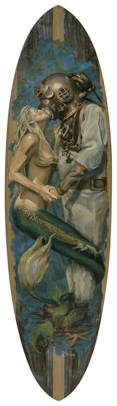 Mermaid and diver  I would love something like this on the wall - Will