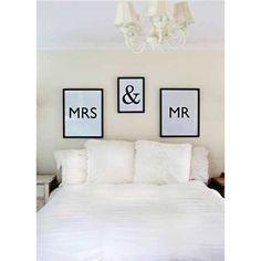 "Mr & Mrs Wall Decor 3 Styles: Mr/Mrs 18""L x 22""H MDF Framed & 12""L x 16""H MDF Framed"