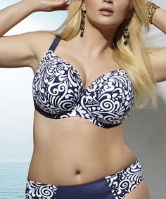 Another great find on #zulily! Navy Finesya Bra Full-Fit Bikini Top - Plus by Kris Line #zulilyfinds