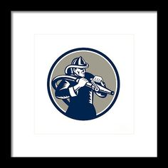 Vintage Fireman Firefighter Aiming Hose Circle Woodcut Framed Print by Aloysius Patrimonio. Vintage style illustration of a fireman fire fighter emergency worker holding fire hose aiming viewed from the side set inside circle done in retro woodcut style. #ilustration #VintageFiremanFirefighter