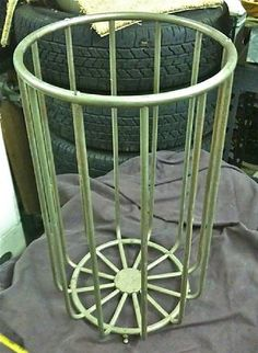 """Beautiful and Rare Dirty Towel basket marked Art Brass Co. NY. 21"""" tall x 12"""" diameter. Price- $2100. Vintage Plumbing Bathroom Antiques - Nickel Plated Accessories"""