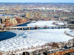 Frozen landscape - Charles River and Cambridge shore from on high #CambMA DiscoverTheCharles.com