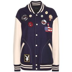 Marc Jacobs Embellished Wool-Blend Bomber Jacket ($1,845) ❤ liked on Polyvore featuring outerwear, jackets, bomber, blue, embellished jackets, blue jackets, marc jacobs, bomber jacket and multi color jacket