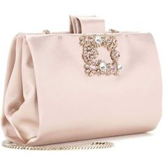 Roger Vivier Soft Flowers Crystal-Embellished Satin Clutch ($1,545) ❤ liked on Polyvore featuring bags, handbags, clutches, roger vivier handbags, pink handbags, pink flower purse, flower handbags and satin purse