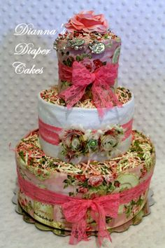 Shabby Chic Baby Diaper Cake Shower Gift or Centerpiece by Dianna's Diaper Cakes www.diannasdiapercakes.com www.diannasdiapercakes.etsy.com