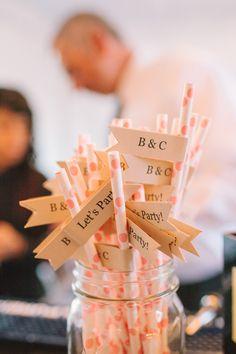 striped straws with diy flags #diy #weddingreception #weddingchicks http://www.weddingchicks.com/2014/01/31/vintage-barn-wedding-2/