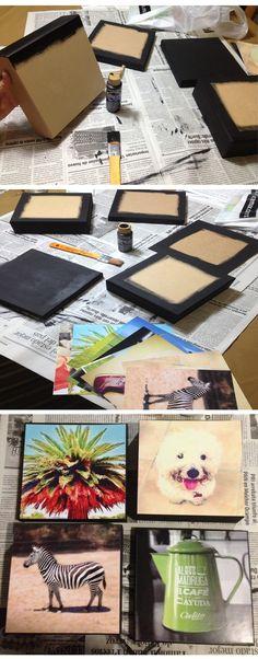 DIY.. cuadros decorativos! Diy Crafts For Gifts, Decor Crafts, Arts And Crafts, Decoupage, Cuadros Diy, Wooden Art, Diy Tutorial, Craft Projects, Craft Ideas