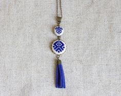 Blue Cross stitch Ethnic necklace with tassel n065