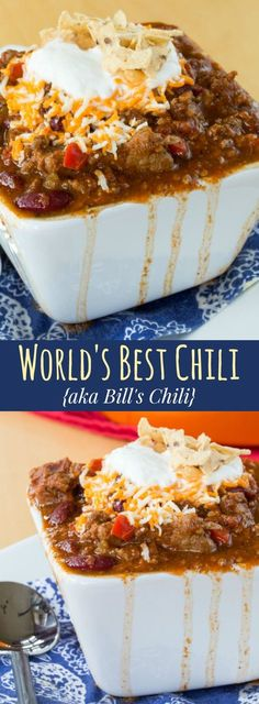 Bill's Chili -the World's Best Chili recipe with beef, bacon, and just the right amount of spice and Tuttorosso Tomatoes beef recipes dinners Beef Chili Recipe, Chilli Recipes, Mexican Food Recipes, Crockpot Recipes, Soup Recipes, Cooking Recipes, Chili Recipe Crockpot Best, The Best Chili Beans Recipe, Chili Recipe Without Tomato Paste