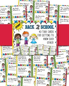 Back to School Task Cards are perfect for building excellent classroom culture! Just like fingerprints, every kid is different, with their own unique, likes, dislikes, hopes, dreams, and talents! Building strong connections both with your students and the students with each other is essential in maximizing student learning!  includes 40 separate GETTING TO KNOW YOU task cards! You will love using these TASK CARDS to get to know your students and to build or enhance your classroom team!