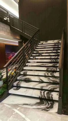 Panda White marble stairs by CK Stones Thailand.You can find Thailand and more on our website.Panda White marble stairs by CK Stones Thailand. Marble Staircase, Tile Stairs, Concrete Stairs, House Stairs, Open Staircase, Stairs Tiles Design, Railing Design, Stair Railing, Staircase Design