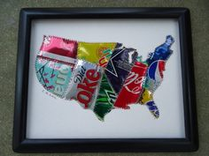 USA Map Soda Pop Can Original Collage Fun and Funky Recycled Aluminum