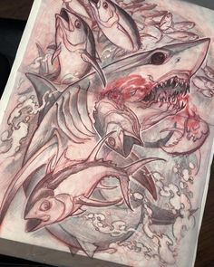 Been waaayy to long since I've posted, sorry guys, gonna get back into it, in the meantime here's a sketch for a back piece just started, more progress shots on this and a lot of other projects.. promise!! #makosharktattoo #makoshark #irezumicollective