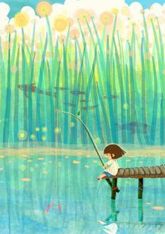 Menina, peixes, flores, magia.
