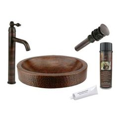Premier Copper Products All-in-One Oval Skirted Vessel Hammered Copper Bathroom Sink in Oil Rubbed Bronze-BSP1_VO18SKDB - The Home Depot