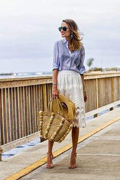 Striped shirt and white skirt