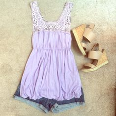 Boho Inspired Lilac Tank Worn; can be dressed up or down; very comfortable; very tiny hole on back of right strap Tops Blouses