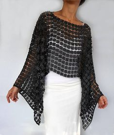 Anthracite Gray Tunic, Embroidery Lace Shrug Bolero, Evening Dress Coverup, Mother of the Bride Shawl, Poncho Cape Top Shoulder Stole - Evening Dresses Lace Shrug, Lace Tunic, Lace Skirt, Dress Lace, Shrug For Dresses, Embroidery Dress, Crochet Fashion, African Dress, Ladies Dress Design