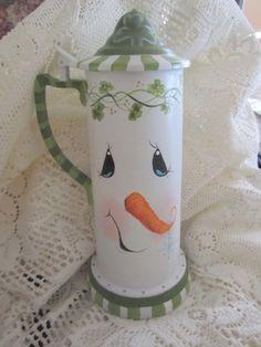 """My """"Irish"""" snowman painted on an old beer tankard."""