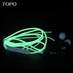 2017 TOPO Flashing Glowing in Ear Earphone With Mic Metal  Headset 3.5mm AUX Glow Earphones For PC Xiaomi Phone Music Ear phones
