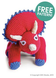 GMC Knitted Triceratops Free Pattern | Dinosaur Knitting Patterns