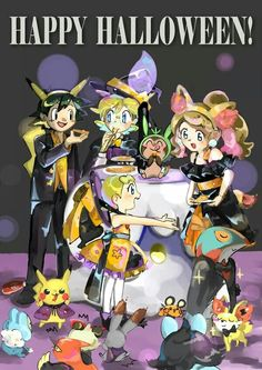 Beautiful ♡ Ash and Pikachu with their Kalos friends dressed up for Halloween ^.^ ♡ I give good credit to whoever made this  #Halloween