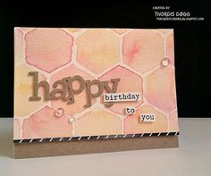 handmade card: Watercolor Geometry  by Thordis D. A. ...luv the coral shades ...  watercolor hexagons through large stencil ...