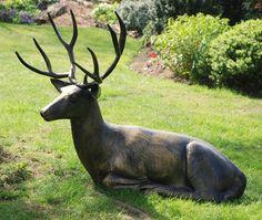 Laying Deer Stag Bronze Metal Garden Statue. Buy Now At Http://www